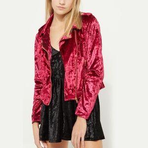 NEW wine and pink velvet jacket